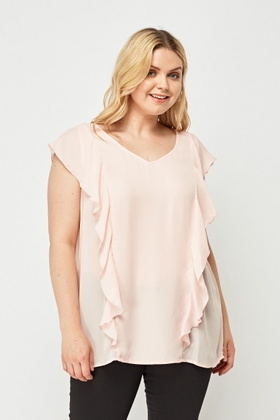 Frilly Pink Blouse Top