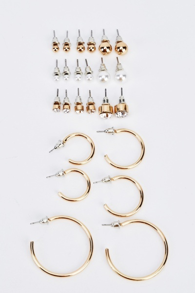 Pack Of 12 Mixed Earrings