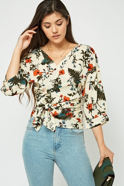 Printed Tie Up Wrap Blouse
