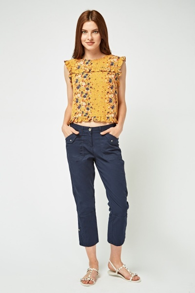 Rolled Hem Casual Capri Trousers