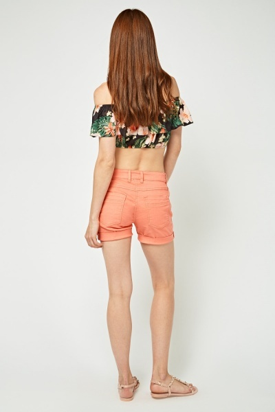 Rolled Hem Denim Shorts