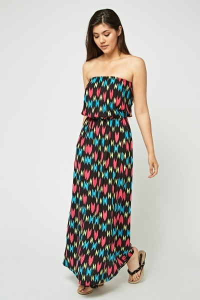 Strapless Mix Print Maxi Dress