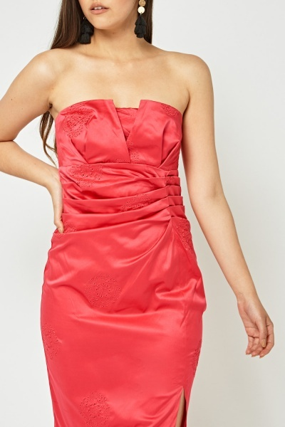 Strapless Pleated Broderie Detail Dress
