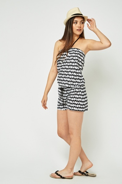 Tie Up Chevron Print Playsuit
