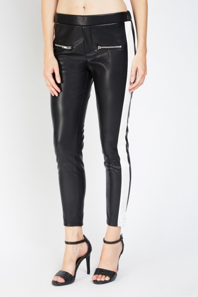 Contrast Side Faux Leather Treggings