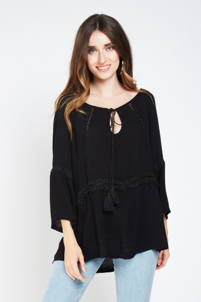 Crochet Trim Sheer Smock Top