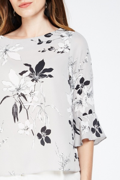 Floral Metallic Print Sheer Blouse