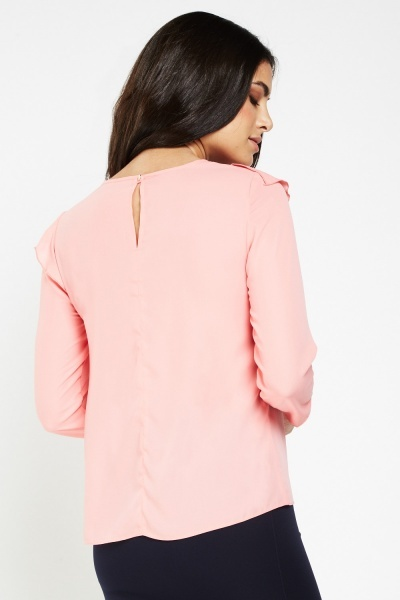 Frilly Overlay Sheer Chiffon Blouse