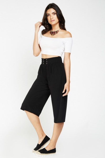 Lace Up Crop Culottes