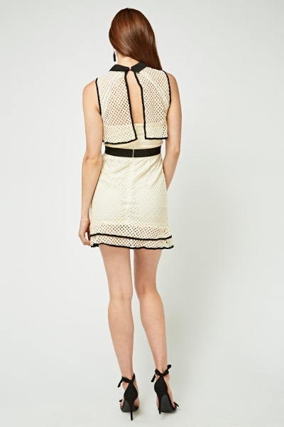 Laser Cut Crochet Contrast Frilly Dress
