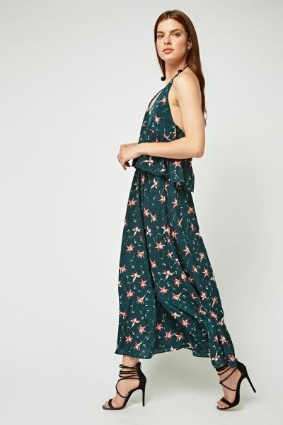 Printed Ruffle Overlay Maxi Dress