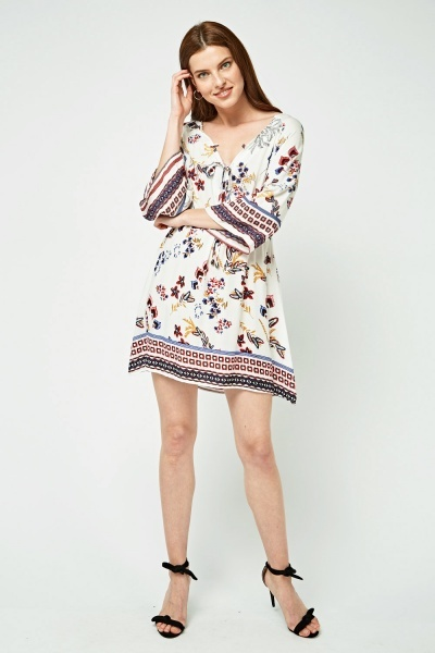 Printed Tie Up Flared Tunic Dress