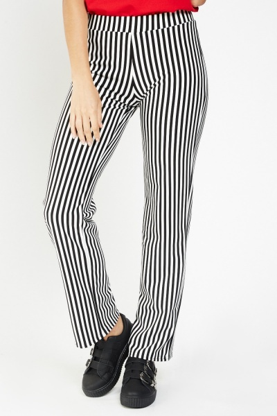 Straight Fit Vertical Stripe Trousers