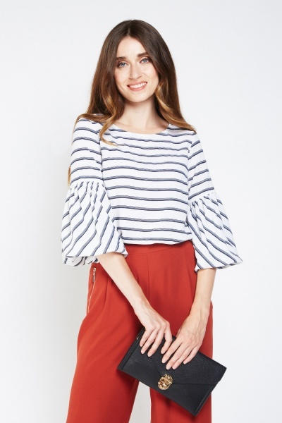 Striped Frilly Flute Sleeve Top