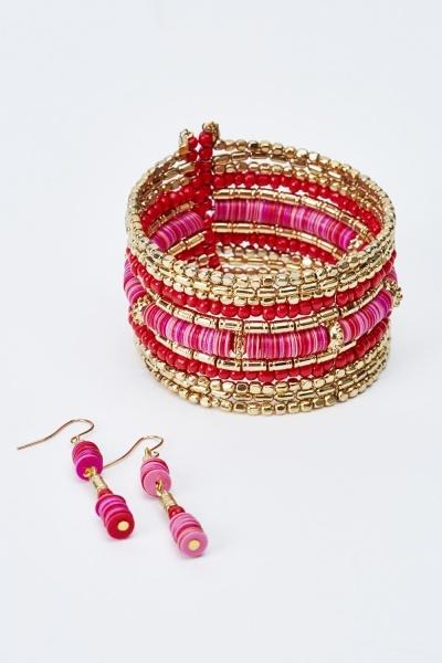 Beaded Cuff Bracelet And Earrings Set