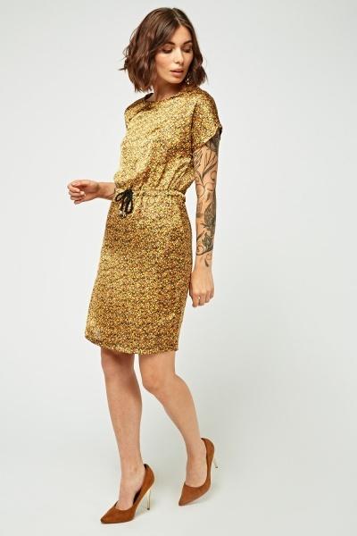 Calico Printed Sateen Tunic Dress