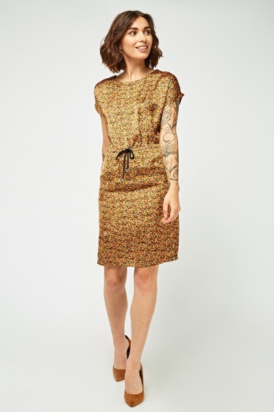 Calico Printed Sateen Tunic Dress
