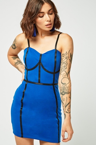 Contrasted Sweetheart Bodycon Dress