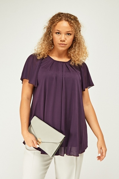 Frilly Sleeve Mesh Overlay Top