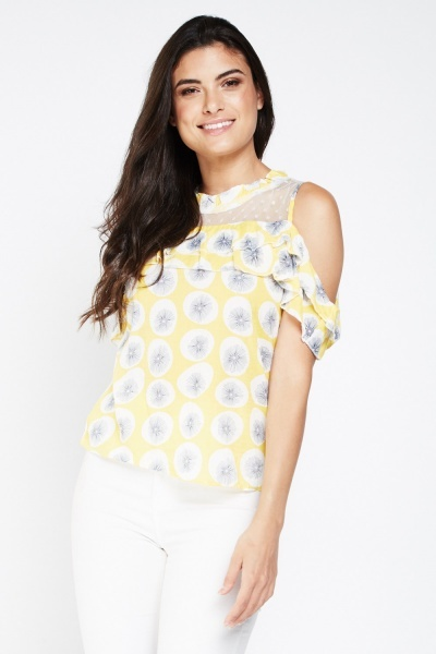 Printed Mesh Frilly Cold Shoulder Top
