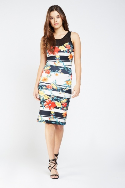 Sweetheart Contrast Printed Midi Dress