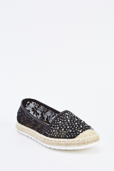 Embroidered Detailed Mesh Espadrilles