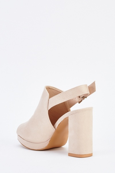 Open Toe Block Heel Suedette Sandals