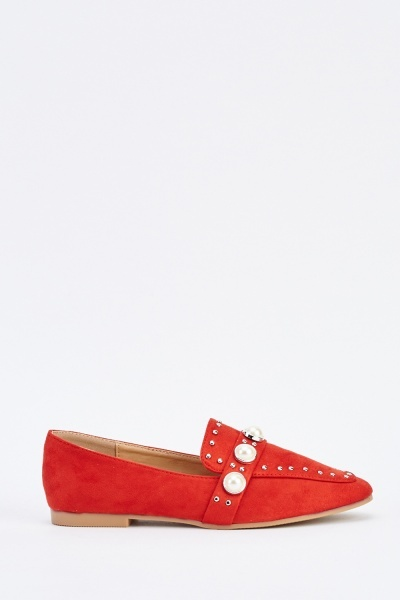 Pearl Trim Suedette Loafers