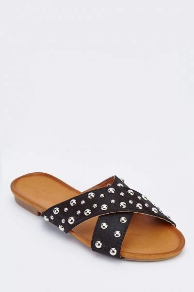 Studded Cross Strap Sliders