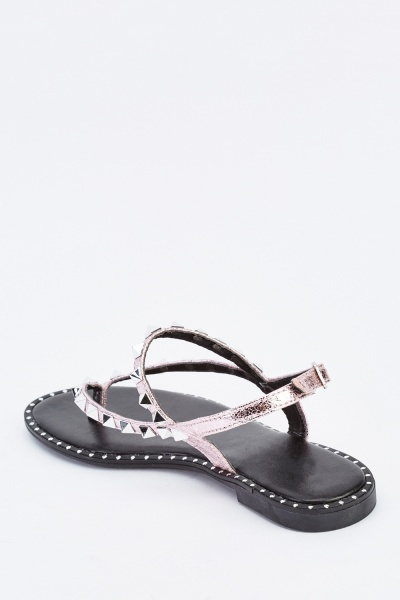 Studded Metallic Flat Sandals