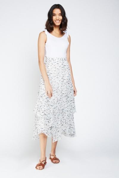 Botanic Print Ruffle Midi Skirt