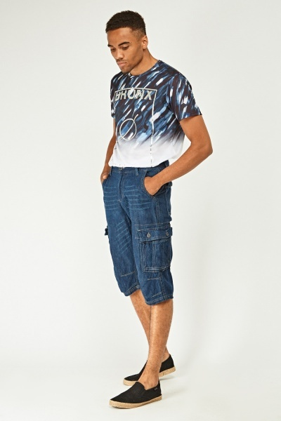 Casual Patched Pocket Denim Shorts