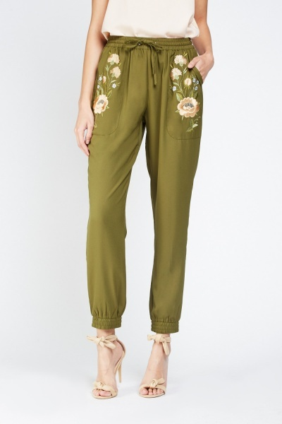 Flower Embroidered Tapered Joggers