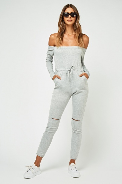 Ribbed Knee Speckled Jumpsuit