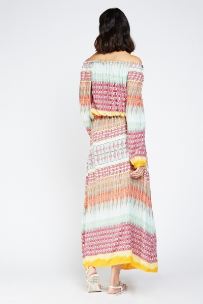 Tile Print Off Shoulder Maxi Dress