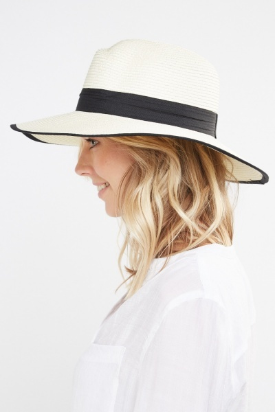 Contrast Trim Boater Hat