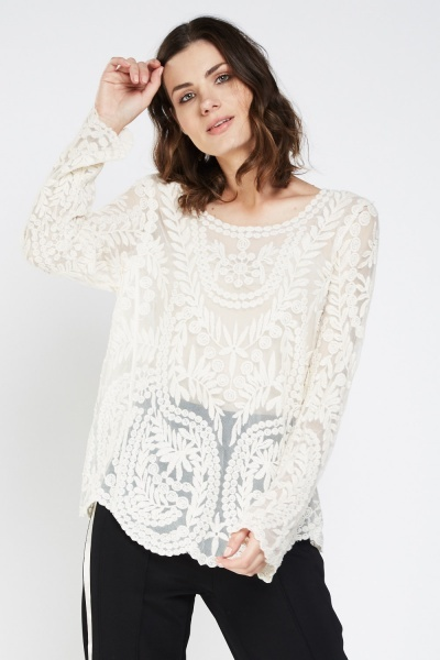 Embroidered Mesh Long Sleeve Top