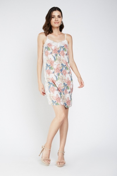 Faux Pearl Trim Printed Slip-On Dress