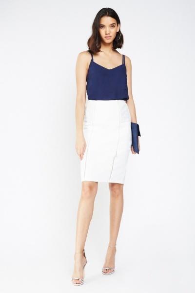 Lace Insert Textured Midi Skirt