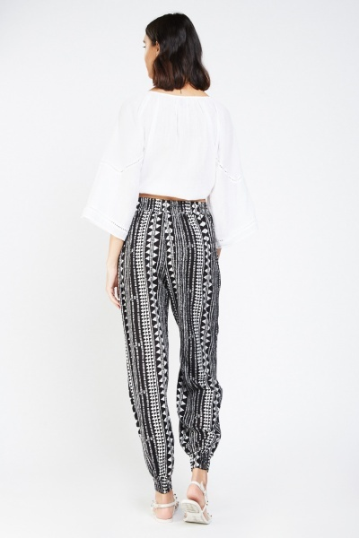 Mix Geo Print Tapered Trousers