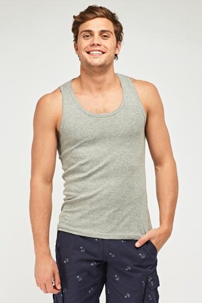 Pack Of 3 Grey Vest Tops
