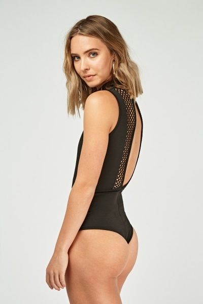 Perforated Turtle Neck Bodysuit