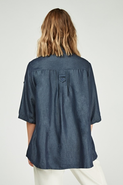 Pleated 3/4 Sleeve Length Shirt