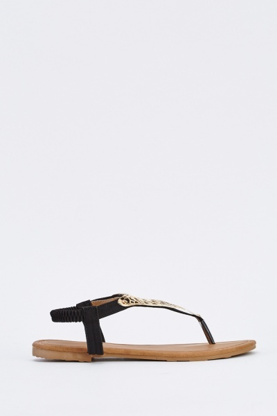 Detailed Elasticated Slingback Sandals