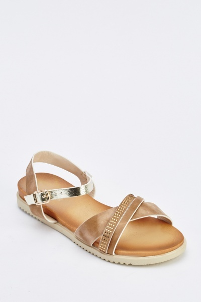 Encrusted Suedette Flat Sandals