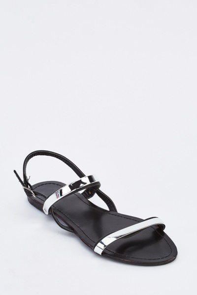 Metallic Overlay Flat Sandals