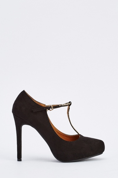 T-Bar Suedette Heeled Shoes
