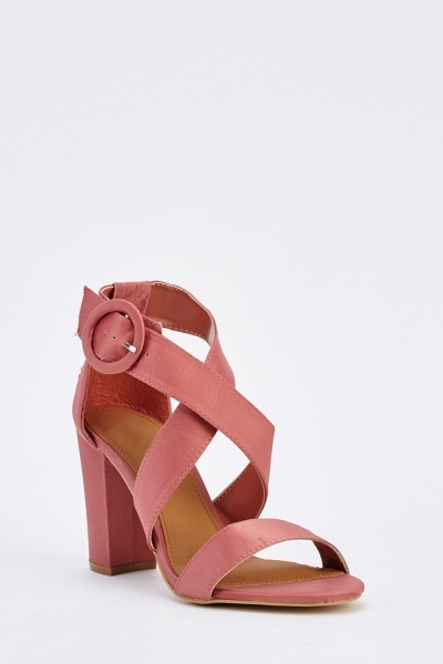 Textured Cross Strap Heeled Sandals
