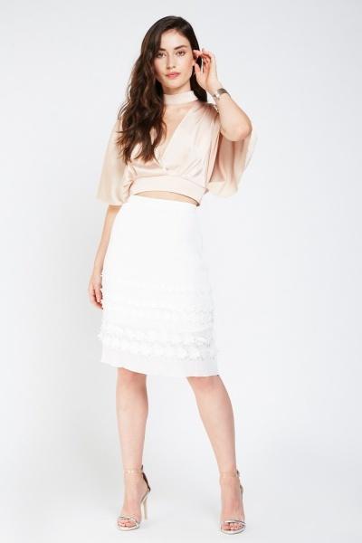 3D Flower Sheer Pleated Skirt
