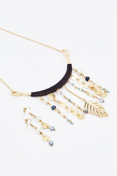 Embellished Dangled Necklace And Earrings Set